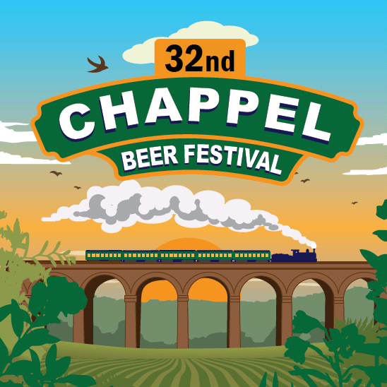Poster for the 32nd Chappel Beer Festival. Drawn in the style of railway posters from the 1930s, a steam train is puffing its way along the top of a viaduct, about green fields, with the sun setting behind in the sky.