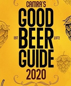 The cover of the new beer guide. Bright yellow with faint drawings of hops in the background.